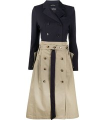 rokh two-tone trench dress - blue