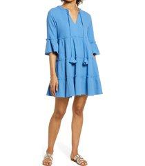 women's btfl-life split neck babydoll cotton dress, size small - blue