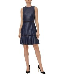 lasercut faux leather dress
