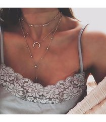 collana ciondolo a più strati della boemia collana con ciondoli a catena con strass di luna gioielli etnici per le donne
