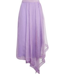 women's gucci asymmetrical silk organza midi skirt
