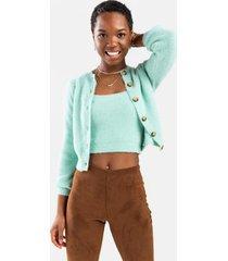 amber fuzzy cardigan - green