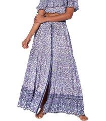 violet flower gipsy print long skirt