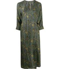 uma wang floral-print wraparound midi dress - green