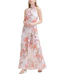 eliza j floral-print chiffon gown