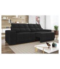 sofá 4 lugares net jaguar assento retrátil e reclinável preto 2,30m (l)