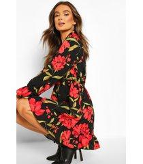 red floral oversized smock dress, black