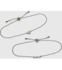 lane bryant women's 2-row mama & pave heart adjustable bracelet set onesz silver
