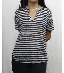 coin 1804 womens stripe short sleeve henley t-shirt