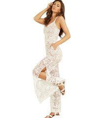 enterito sl elaria lace jumpsuit blanco guess