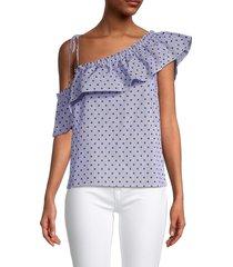 redvalentino women's polka dot one-shoulder top - iris - size 40 (8)