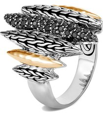 'classic chain' black sapphire spinel 18k gol hammered ring