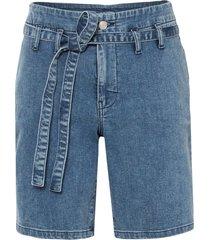 shorts di jeans in cotone biologico con cintura (blu) - rainbow