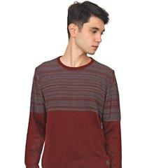 suéter polo wear tricot listrado vinho/cinza - kanui