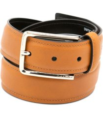 calvin klein men's pressed-edge strap leather belt