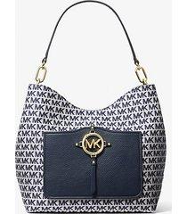 mk borsa a spalla amy grande con logo jacquard - navy (blu) - michael kors