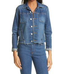 women's l'agence janelle raw cut slim denim jacket, size small - blue
