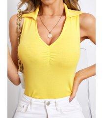 camiseta sin mangas con cuello de solapa informal yoins