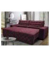 sofá 2,42m retrátil e reclinável com molas cama inbox plus tecido suede velusoft vinho