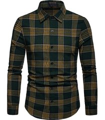 mens business casual plaid pulsanti colletto ribaltabile sottile camicia