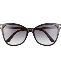 tom ford 58mm ani cat eye sunglasses in shiny black/smoke gradient at nordstrom