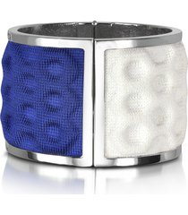 avril 8790 designer bracelets, palladium plated brass and white and blue viscose bangle