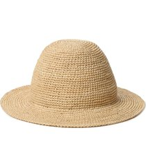 janessa leone quinn straw bucket hat, size x-large in natural at nordstrom