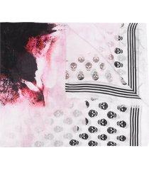 alexander mcqueen paper bloom biker skull-print scarf