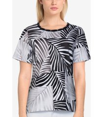 alfred dunner women's missy classics tonal leaf print t-shirt