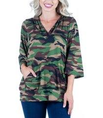 women's camo print oversized pocket hoodie top