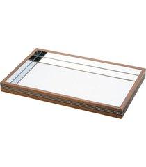 bandeja de madeira com espelho strass - 5 x 29 x 17 cm