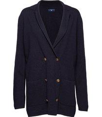 o1. cardy blazer gebreide trui cardigan blauw gant