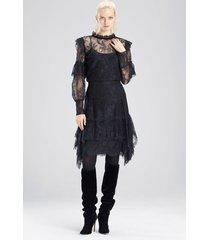viscose satin lace ruffle skirt, women's, black, size 0, josie natori
