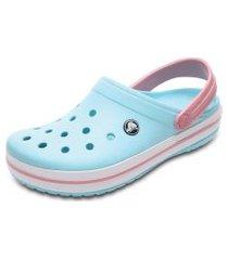 sandália crocs crocband clog kids azul/rosa