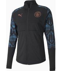 man city stadium jacket voor heren, zwart/blauw/aucun, maat m | puma