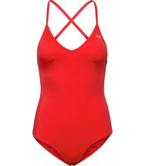 puma swim women v-neck crossback sw baddräkt badkläder röd puma swim