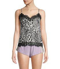snow leopard-print lace-trimmed camisole