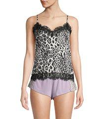 snow leopard-print lace-trimmed camisole