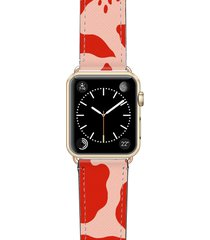 women's casetify red abstract saffiano faux leather apple watch strap