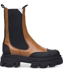 calf leather shoes chelsea boots brun ganni