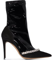 alexandre vauthier ane 100mm crystal ankle booties - black