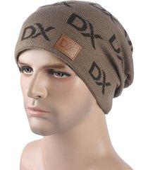 mens dx lettera warm beanie cap soft confortevole carino fashion skullies beanie hat orecchio protezioni
