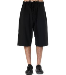 oamc black cotton shorts