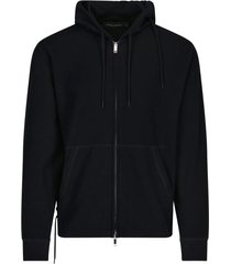 rear laces detail zipped hoodie