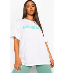 gewassen brooklyn t-shirt, wit