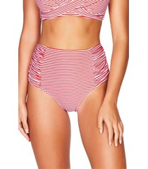 women's sea level sorrento stripe high waist gathered side bikini bottoms, size 10 us - red