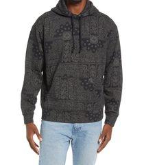men's bp. men's paisley organic cotton blend hoodie, size xx-large - black