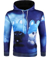 3d cartoon animal print pullover hoodie