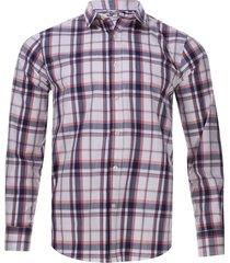 camisa a cuadros manga larga color blanco, talla xs