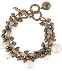 lanvin pre-owned faux-pearl beaded bracelet - pink